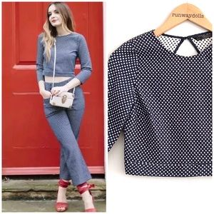 { Zara } Polka Dot 3/4 sleeve Textured Crop Top S